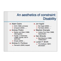 Slide from The Architecture of Disability, listing constrained protagonists in interactive fiction