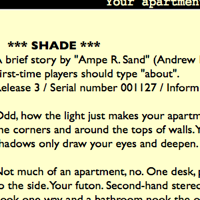 Shade, the interactive fiction by Andrew Plotkin