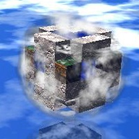 Cover art for essay and bibliography: floating block-world
